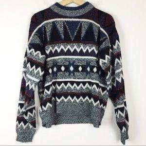 Vintage salt and pepper geometric dad sweater